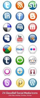 24 social media icons (PSD & PNG)