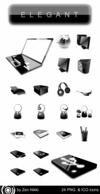 ELEGANT 24 PNG & ICO icons (by Zen Nikki)