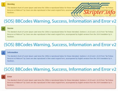 BBCodes Warning, Success, Information and Error