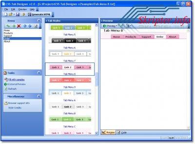 CSS Tab Designer - программа для создания меню сайта