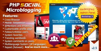 PHP Social Microblogging 2.9 Rus