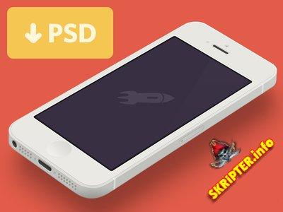 Minimal iPhone 5 [White] Template [PSD]