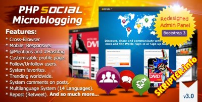 PHP Social Microblogging 3.0 Rus