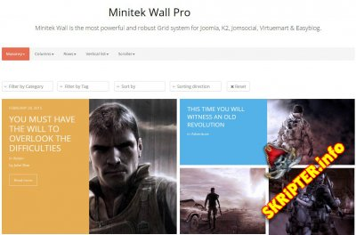 Minitek Wall Pro v3.8.1.3 - модуль вывода материалов для Joomla