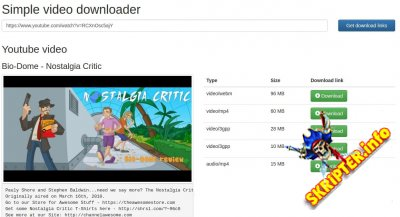 Simple Youtube Video Downloader v1.0 - скрипт загрузки видео с YouTube