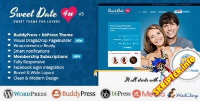 Sweet Date v3.5.1 - уникальная премиум тема для WordPress