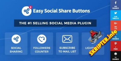 Easy Social Share Buttons v5.2.2 - социальные кнопки для WordPress