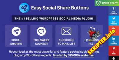Easy Social Share Buttons v6.2.9 Nulled - социальные кнопки для WordPress