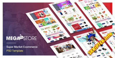 MegaStore - супермаркет PSD и эскизный шаблон
