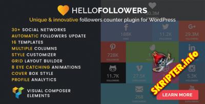 Hello Followers v2.3 - плагин социального счетчика для WordPress