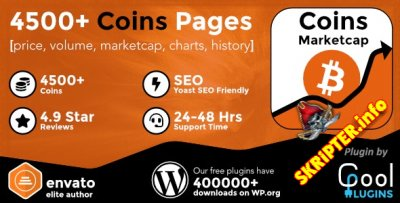 Coins MarketCap v4.2.1 Rus Nulled - плагин криптовалюты для WordPress