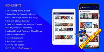 Music Portal v1.0 Nulled - скрипт музыкального портала